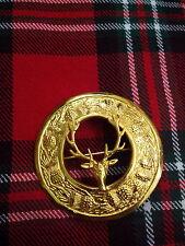 T C Hombre Broche Para Tela Escocesa Kilt CABEZA DE CIERVO chapado en oro /