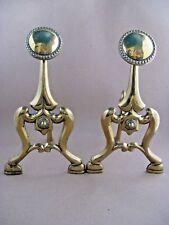 Brass fire dogs a pair c1900