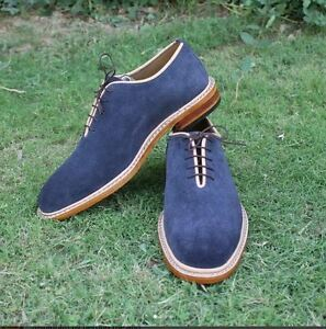 Handmade Men Navy blue suede shoes, Men custom made shoes  suede leather shoes