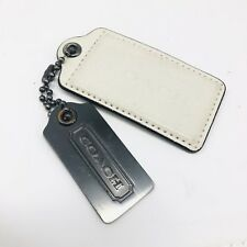 Coach Stainless Steel Metal And Cream Leather Dog Tags Authentic
