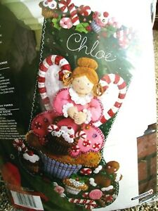 BUCILLA CHRISTMAS STOCKING FELT APPLIQUE HOLIDAY KIT, CUPCAKE ANGEL,Candy,86207