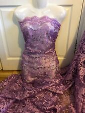 "5 MTR LILAC SCALLOPED BRIDAL EMBROIDERED LACE NET FABRIC 52"" WIDE £44.99"