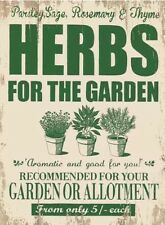 Retro Vintage Style Metal Sign Herbs for the Garden Allotment Shed Home Kitchen