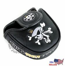King Skull Black MALLET  Putter Cover Headcover For Scotty Cameron Odyssey 2ball