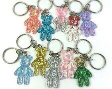Teddy Bear Glitter Keyrings Gummy Bear Retro Style Charm Keychain Pink Silver UK