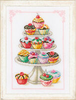 Vervaco Counted Cross Stitch Kit : Cupcake Anyone?