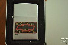 ZIPPO Lighter, Chevy Bowtie & Flame, Chrome, Sealed, M538