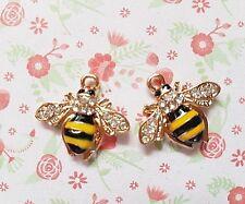 2pcs x Strass abeille émail Or Alliage Métallique Charme Pendentifs À faire soi-même Bijoux