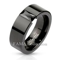 FAMA Stainless Steel Black IP Band Ring w/ Rectangular Black Gem Select Size