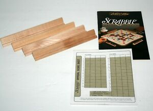 Scrabble Deluxe Replacement Game Wood Tile Holders 4 and Scorepad, Parts
