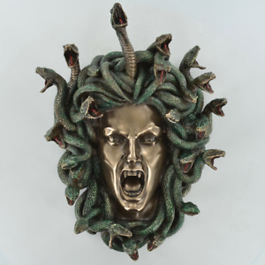 Medusa Mythical  Painted Cold Cast Bronze Wall Plaque Sculpture  / Figurine.New.