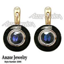 Women's Russian Style Blue Sapphire Black Enamel Earrings 585 14k E995