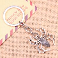 Silver Spider Gothic Punk Creepy Halloween Novelty Keyring Keychain Gift Bag