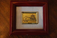 Wonderful Miniature Italian 22 Kt Gold Leaf Picture Of Grazie Church In Milano