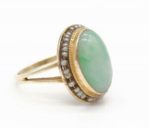 Antique c1900 14K Gold Jadeite Cabochon Seed Pearl Ring Size 7.75