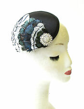 Black White Blue Green Feather Fascinator Races 1940s Hair Vintage Clip 30s 1434
