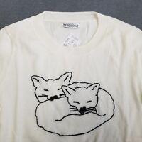 J Crew Mercantile Size 2X Fox Snuggle Black Stitching Teddie Sweater Womens