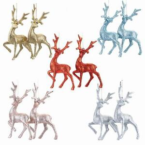 Glitter Collection Christmas Tree Decoration - 2 Pk Reindeer - Choose Colour