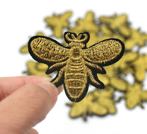 Bee Wasp Iron On Patch- Animal Gold Nature Insect Applique Crafts Badge HD122