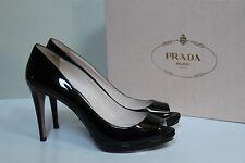 New sz 6 / 3 6 Prada Black Paten Leather Platform Peep Toe Sandal Heel Shoes
