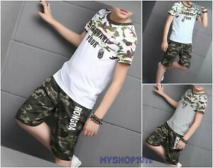 Boys Summer set T shirt Pants T-shirt Short Sleeve Outfit Top Size 4-13 years