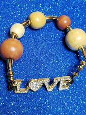 """Love"" Stretch Bracelet Pretty Handmade Wooden Bead"