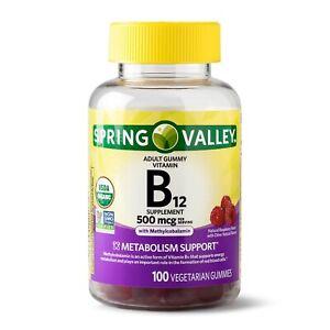 Spring Valley Vitamin B12 Gummy, 500 mcg, 100 CT+
