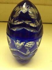 Cobalt Blue Iridescent Swirl Egg Shape Paperweight  - USED WONDERFUL CONDITION