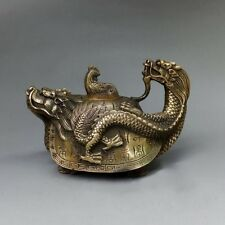 China Exquisite Pure Brass Dragon Tortoise Turtle Phoenix Bird Flagon Teapot