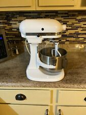 White KitchenAid K5SS Heavy Duty 10 Speed Lift Up Stand Mixer with Attachment
