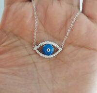 Women 925 Sterling Silver Cz Blue Evil Eye Charm Pendant Chain Necklace