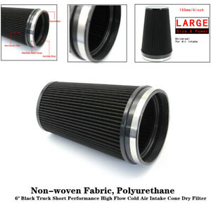 """6""""Black Truck Short Performance High Flow Cold Air Intake Cone Dry Filter Trim"""