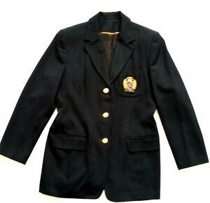 Wool Blazer Womens 10 Raised Crown Crested Logo Regiment Gold Buttons Black
