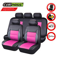 Universal Faux Leather Car Seat Covers Pink For Women Girls Fit Ford Honda Mazda