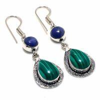 "Malachite, Lapis Gemstone Handmade Ethnic Style Jewelry Earring 1.97"" VJ-9043"