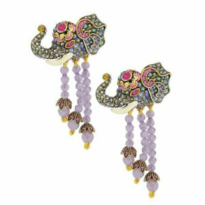 HEIDI DAUS Double Vision Crystal Enamel Beaded Tassel Elephant Earrings NIB