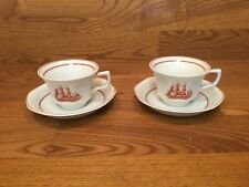 Wedgwood FLYING CLOUD RUST Cup & Saucer (2 Sets) ~ Excellent