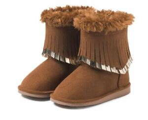 Crazy 8 Brown Fringe Boots Toddler Girls Size 4 NEW