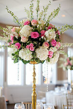 "Tall 36"" Gold Candelabra Flower Tower Centerpiece Wedding"