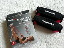 3 Pc Fitness Set Marika 1 Pd Pink Black Hand Weights & Body Fit Resistance Bands