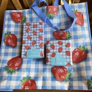 Martha Stewart 3 Ply Strawberry Blue Plaid Guest & Cocktail Paper Napkins
