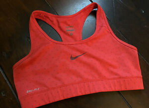 Nike Dri-Fit Sports Bra Red Polka Dots Women's Size Medium