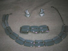 Lisner Vintage 'Moonglow' Lucite Thermoset Parure (3pc.) SkyBlue Jewelry Set EUC