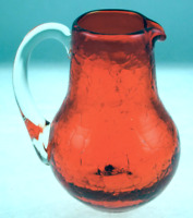 Pilgrim Crackle Glass Mini Pitcher Orange with Clear Handle Hand Blown Vintage