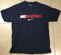 Vtg Men's Nike Basketball Vintage Sz L T-Shirt Navy Swoosh Loose fit large tee