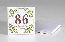 numeri civici mattonella ceramica f.to 15x15 cm. numero civico decorata