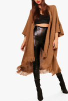 New Womens Knitted Baggy Tassel Cape Cardigan Jacket Poncho Ladies Ribbed Shawl