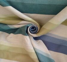 10 Metres Stripe Tapestry Curtain & Interior Fabric Material In Teals & Greens