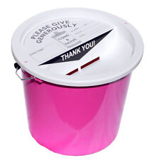 Charity Fundraising Money Collection Bucket 5.7 Litres - Pink
