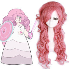 Steven Universe Rose Quartz Cosplay Wig Pink Wavy Styled Hair Long Women Anime
